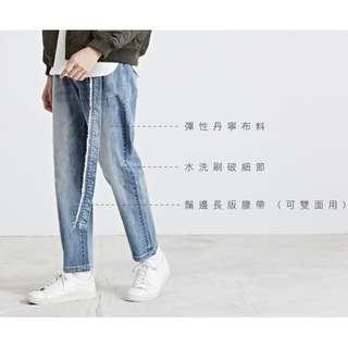 Plain-me 長版腰帶TAPERED牛仔褲