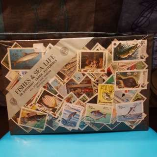 50 different large pictorial stamps. (Fish & sea life).