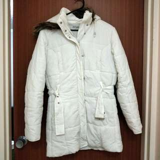 White Winter Insulated Jacket With Hoodie
