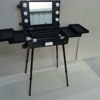 Portable make up table with lights