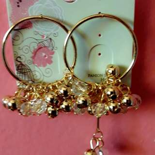 Korean lace long crystal pearl earbob circle exaggerated