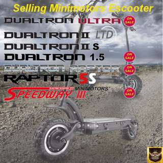 Dualtron Ultra(On Sale), Dualtron Limited, Dultron 2s, Dualtron 1.5(On Sale), Dualtron Raptor(On Sale), Raptor 5S, Raptor 5(Speedway 4), Speedway 3 Minimotors Escooter (New with Warranty) Optional Brake Installation Package