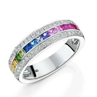 18k 彩虹 藍寶石 戒指