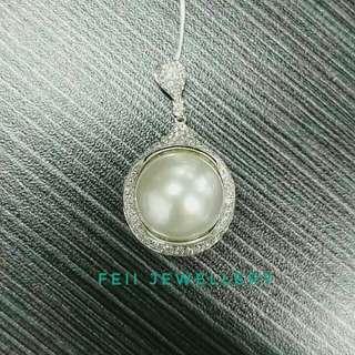 18k 鑽石 珍珠 吊墜