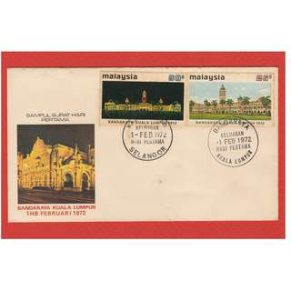 Malaysia 1972 CITY STATUS FOR KUALA LUMPUR FDC SG #98-99 CV £3.10 (toning found on cover & stamps!!!)