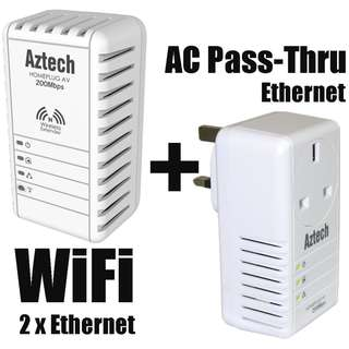 2X 200Mbps Homeplug Network 300Mbps with Wifi and Ethernet