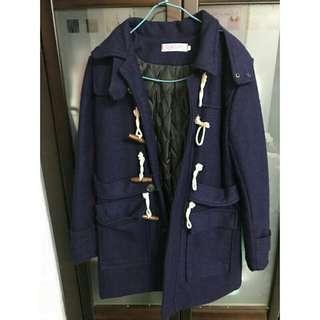 韓版 牛角深藍保暖外套S-M可(免運)