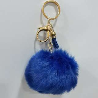 Royal Blue Furball Keychain