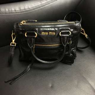 MIU MIU Vitello Shine Leather Satchel Bag