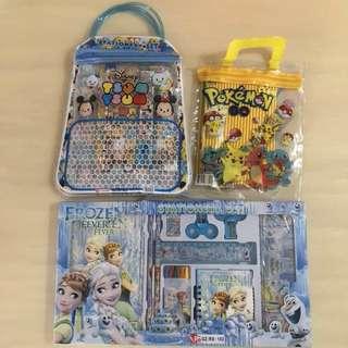 BN ✏️DISNEY📏 Tsum Tsum/ Pokemon Pikachu/ Frozen Princess Elsa & Anna + Olaf Stationery Party Gift Set/ Bag (Children/ Kids Toy)