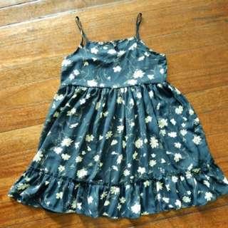 Dark Blue Floral Korean Dress