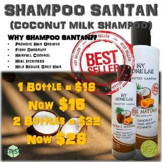 Anti Dandruff Shampoo | Coconut Milk Shampoo | Shampoo Santan | Shampoo for Eczema & Psoriasis | Hair Loss Shampoo | Dry Scalp Shampoo | 100% Organic Shampoo