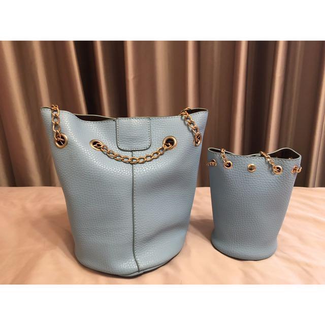 全新,水藍圓筒子母側背包