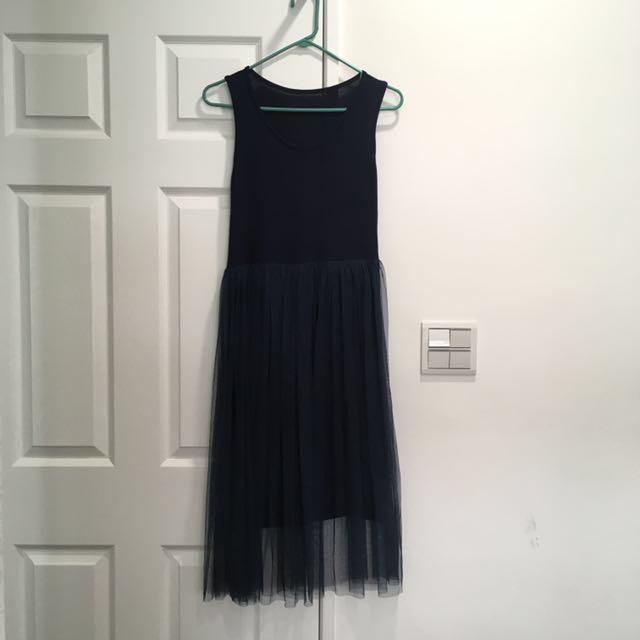 藏青色背心紗裙