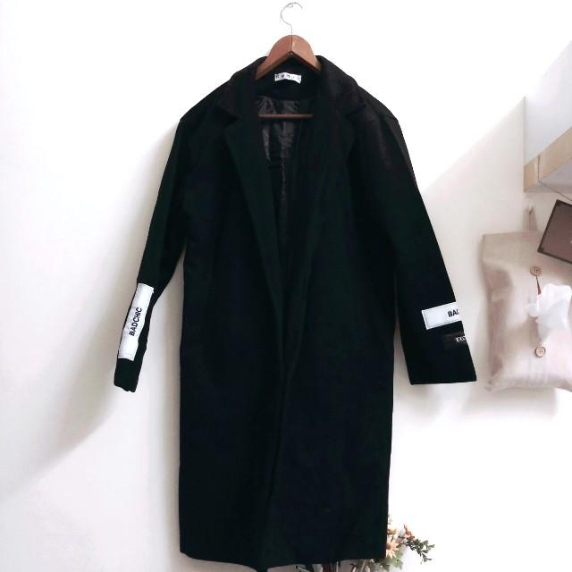 韓風長版黑色大衣外套