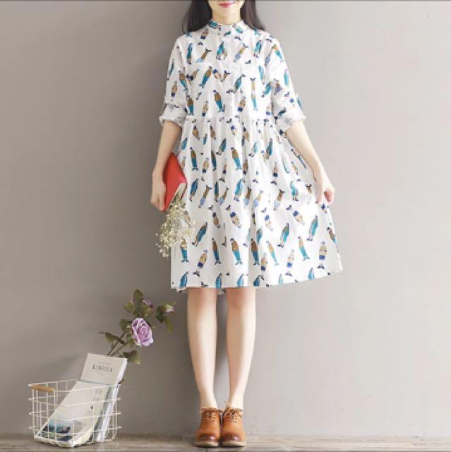 白色清新風麻質洋裝