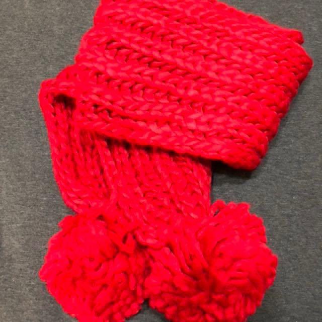紅 毛線球圍巾(原價590)