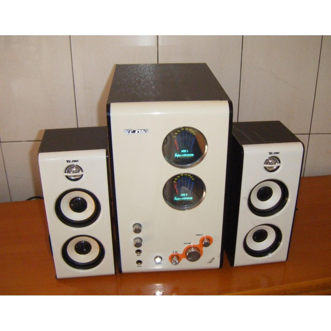 多媒體電腦喇叭 (自取) 7公斤 (主機喇叭左聲道故障.喇叭是好的) 功能正常