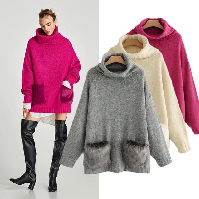 西班牙女裝秋冬時尚寬鬆高領長袖口袋拼接立體毛絨針織長版 針織衫 上衣 毛衣