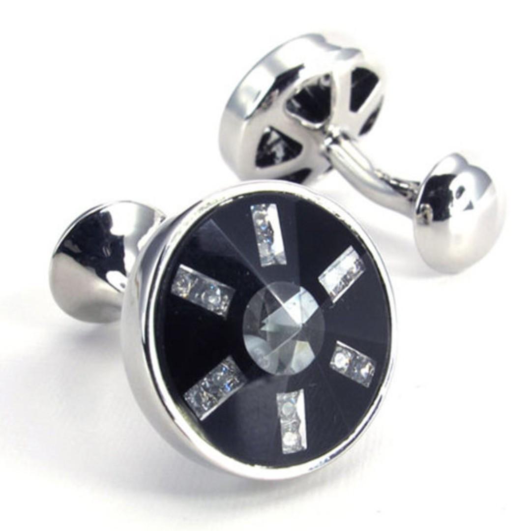 《 QBOX 》FASHION 配飾【W10022289】精緻個性高檔玻璃圓形設計電鍍銅質造型袖扣
