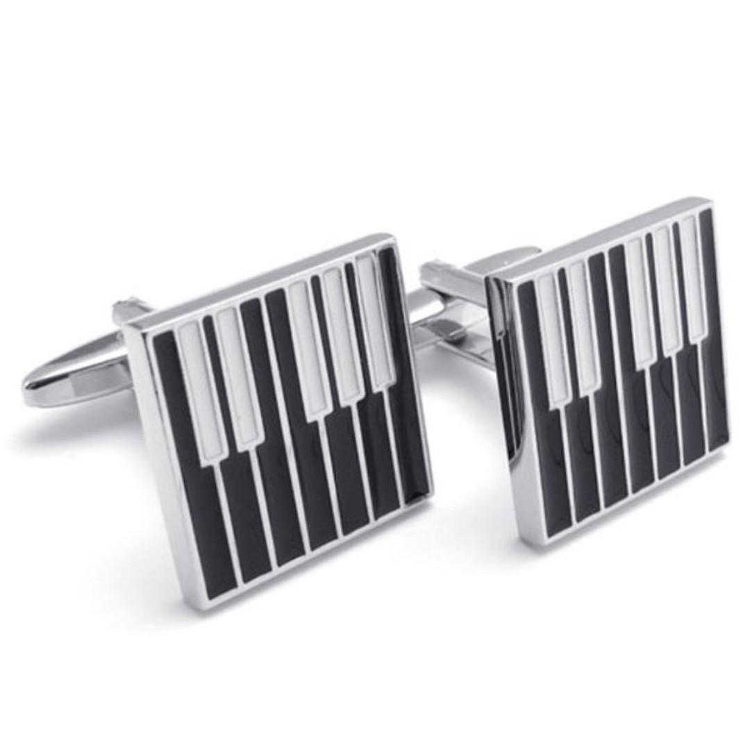 《 QBOX 》FASHION 配飾【W110022306】精緻個性方形鋼琴鍵設計電鍍銅質造型袖扣