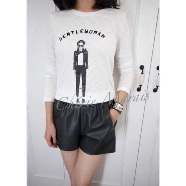 韓國 白色法式女孩百搭T-shirt