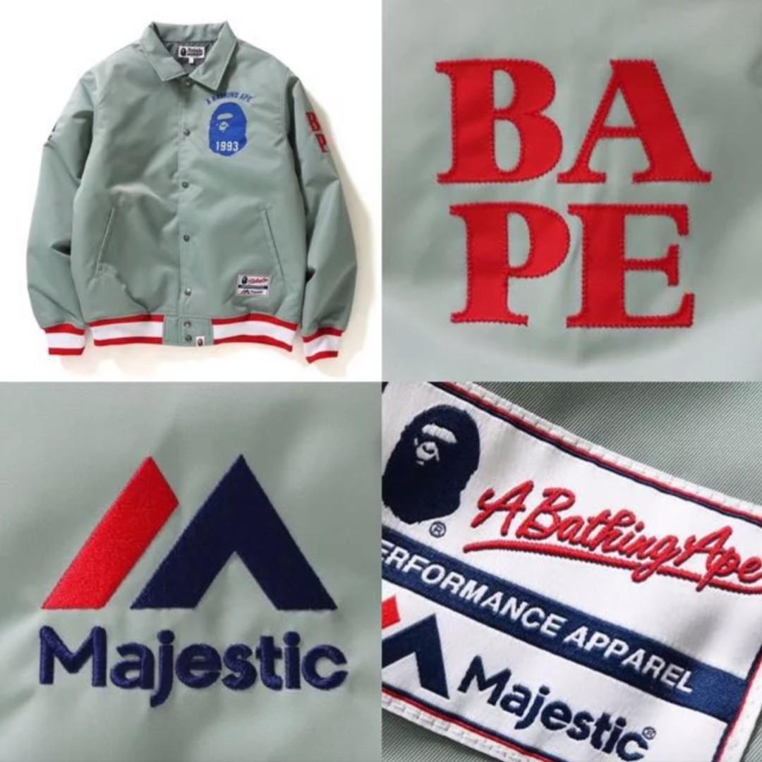 1fd27671f86e BAPE X MAJESTIC SATIN VARSITY JACKET