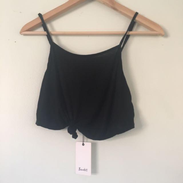 Bardot Black Tie Front Singlet Crop