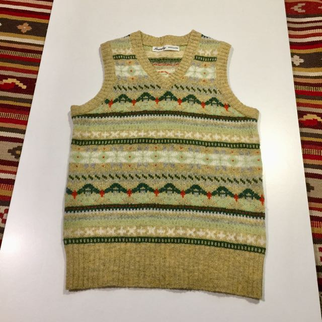 Beams boy 背心 羊毛 雪花 復古 古著 V領 學院 古董 日本品牌 保暖