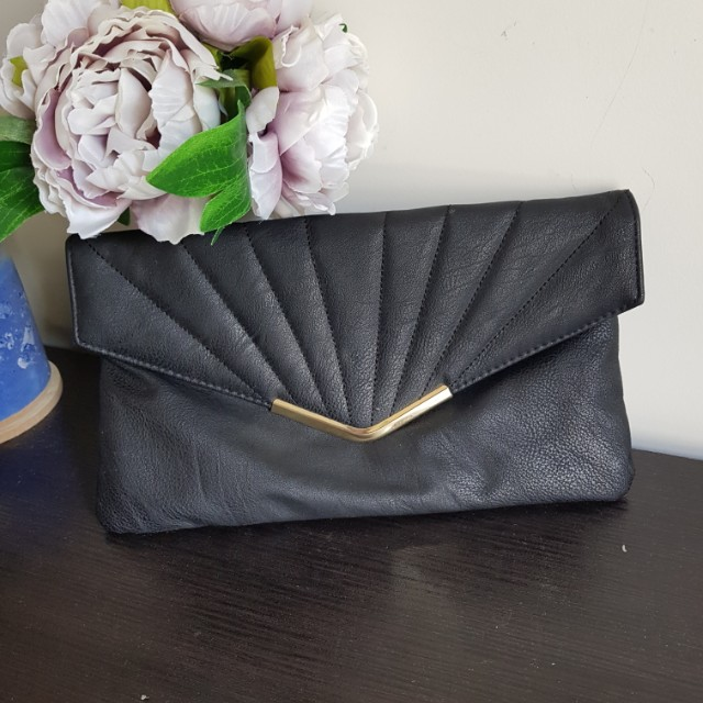 Black gold clotch purse wallet makeup organizer