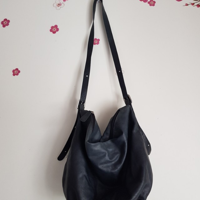 Black h&m tote shoulder bag boho hippie strap
