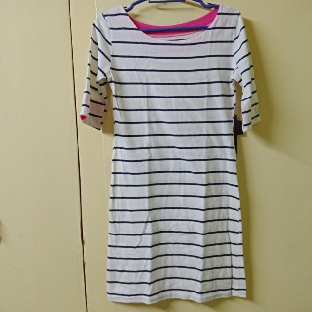 Blue Striped White Dress