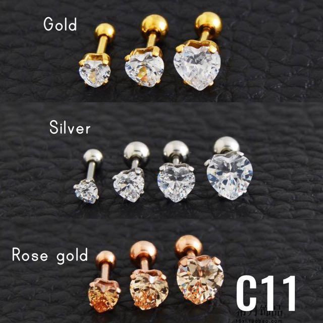 C11 ❤️Heart Shape Stone Ear Stud / Lip Stud / Earring