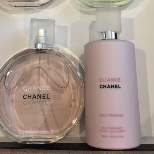 Chanel 150ml chance eau tendre edt 200ml perfumed body lotion