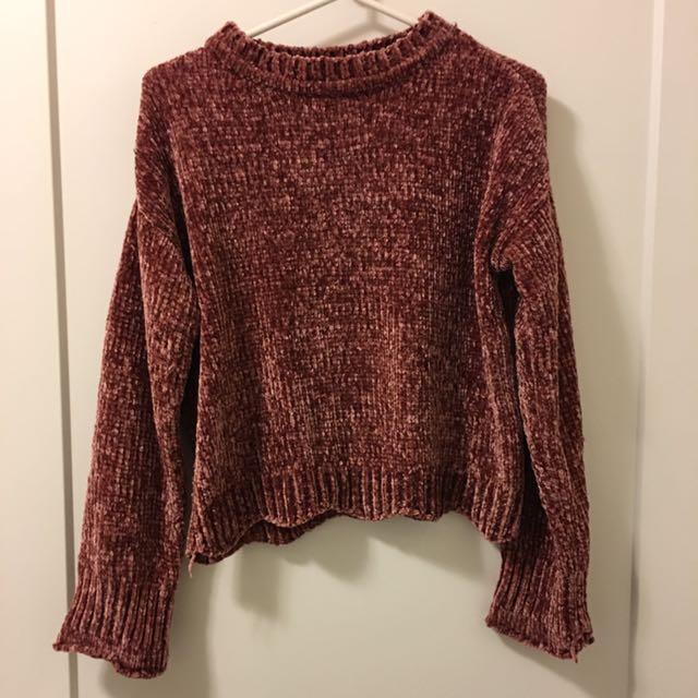 Chenille scalloped bottom sweater