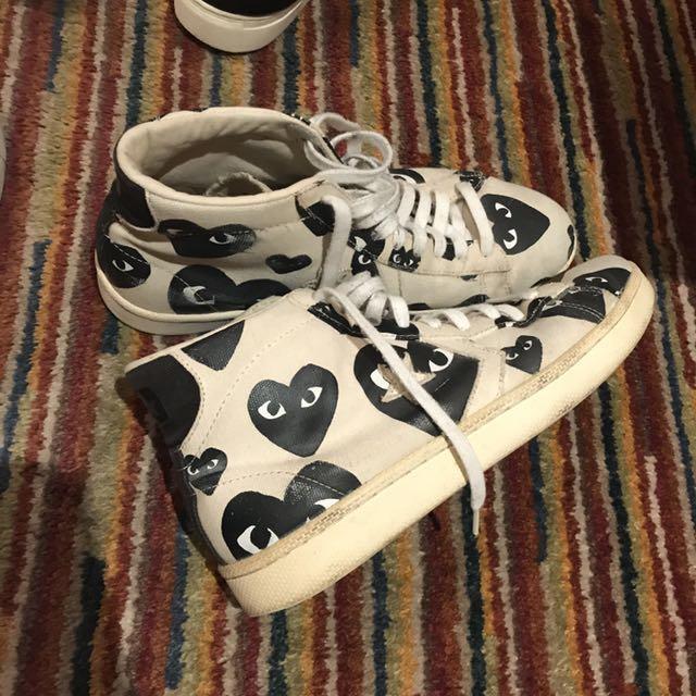 Comme des garçons cdg x converse pro leather high tops shoes 4bd69f061