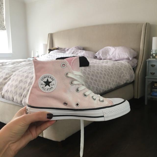 Converse Pink velvet high tops size 5