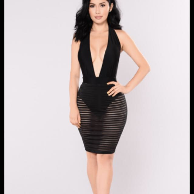 Fashion Nova Amelia Shadow Mesh Dress
