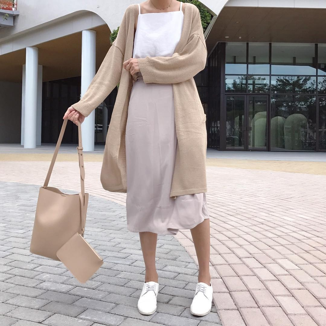 FOFOPO氣質裸色腰釦雪紡長裙