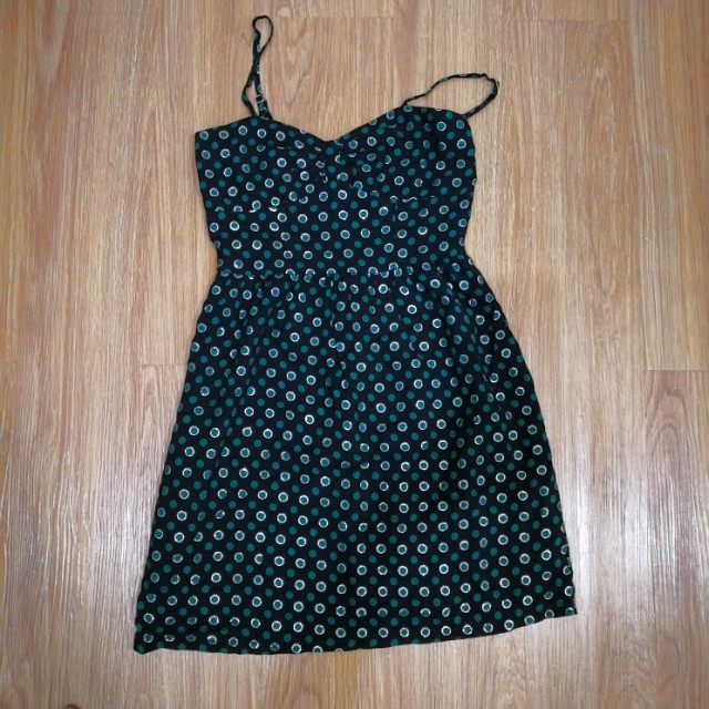 Forever 21 polka dot black green silver dress