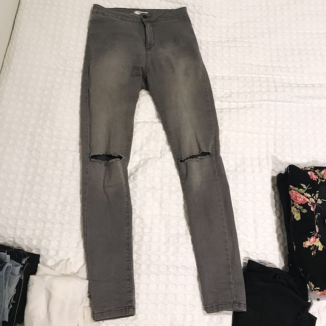 High waist grey skinny jeans