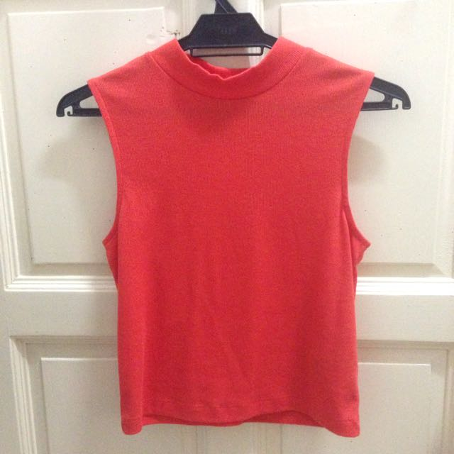 H&M Turtle High Neck Knitted Halter Sleeveless Muscle Tank Top