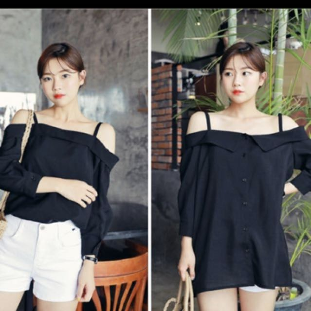 HOTPING Shoulder Straped Button Blouse