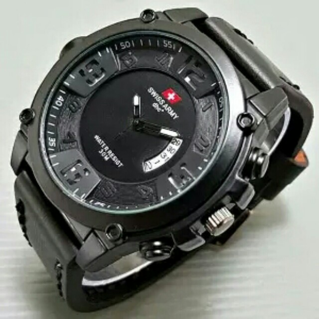 SWISS ARMY Jam Tangan Pria Terbaru Original Chrono Aktif SA546 3 BL Stenleesteel Black. 340
