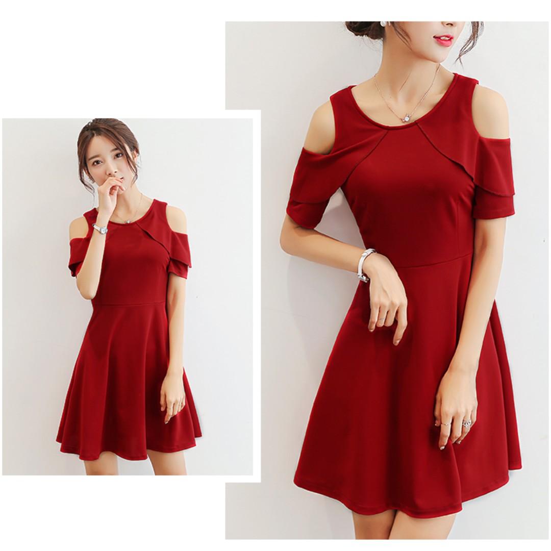 Korean Fashion Red Color Off Shoulder Dress Plus Size XXL oct10 ... b617140a72