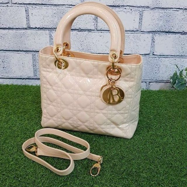 Lady Dior Beige Patent GHW AUTHENTIC