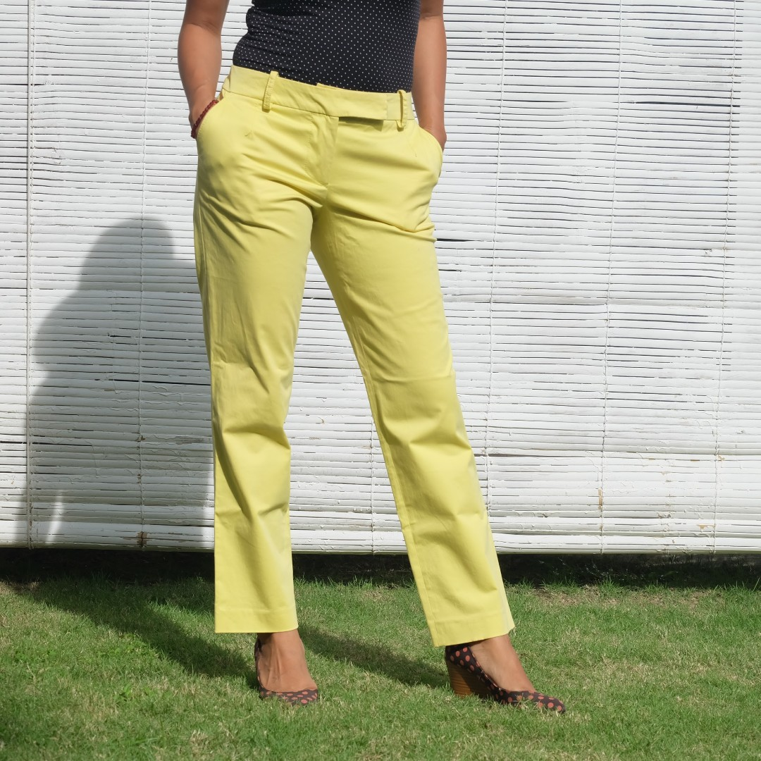 MARIA GRAZIA SEVERI Yellow Tousers/Pants/Celana Semi-stretch