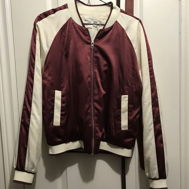 Maroon and white silk bomber