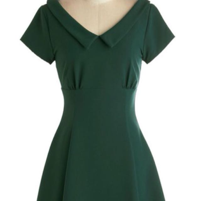 Modcloth Convivial Celebration Green Dress S