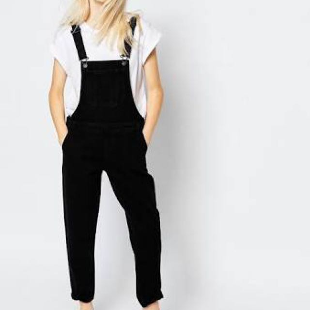 Monki Black Dungarees Pants